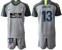 Mens 19-20 Soccer Atletico De Madrid Club #13 Oblak Gray Goalkeeper Short Sleeve Suit Jersey