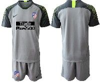 Mens 19-20 Soccer Atletico De Madrid Club( Blank )gray Goalkeeper Short Sleeve Suit Jersey
