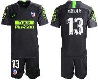 Mens 19-20 Soccer Atletico De Madrid Club #13 Oblak Black Goalkeeper Short Sleeve Suit Jersey