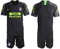 Mens 19-20 Soccer Atletico De Madrid Club( Blank )black Goalkeeper Short Sleeve Suit Jersey