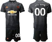 Mens 19-20 Soccer Manchester United Club ( Custom Made ) Black Away Short Sleeve Suit Jersey