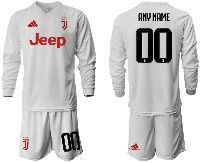 Mens 19-20 Soccer Juventus Club ( Custom Made ) White Away Long Sleeve Suit Jersey
