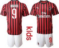 Youth 19-20 Soccer Ac Milan Club #9 Higuain Red And Black Stripe Home Short Sleeve Suit Jersey