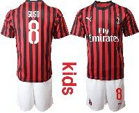 Youth 19-20 Soccer Ac Milan Club #8 Suso Red And Black Stripe Home Short Sleeve Suit Jersey
