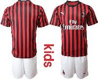 Youth 19-20 Soccer Ac Milan Club( Blank )red And Black Stripe Home Short Sleeve Suit Jersey