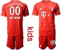 Youth 19-20 Soccer Bayern Munchen ( Custom Made ) Red Home Short Sleeve Suit Jersey