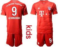 Youth 19-20 Soccer Bayern Munchen #9 Lewandowski Red Home Short Sleeve Suit Jersey