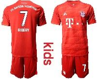 Youth 19-20 Soccer Bayern Munchen #7 Ribery Red Home Short Sleeve Suit Jersey
