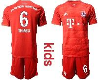 Youth 19-20 Soccer Bayern Munchen #6 Thiago Red Home Short Sleeve Suit Jersey