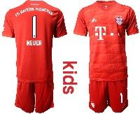 Youth 19-20 Soccer Bayern Munchen #1 Neuer Red Home Short Sleeve Suit Jersey