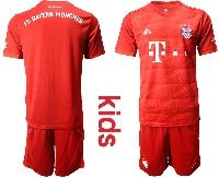 Youth 19-20 Soccer Bayern Munchen( Blank ) Red Home Short Sleeve Suit Jersey