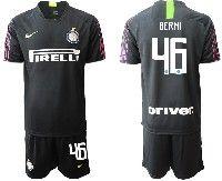 Mens 19-20 Soccer Inter Milan Club #46 Berni Black Goalkeeper Short Sleeve Suit Jersey