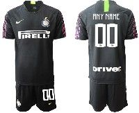 Mens 19-20 Soccer Inter Milan Club ( Custom Made ) Black Goalkeeper Short Sleeve Suit Jersey