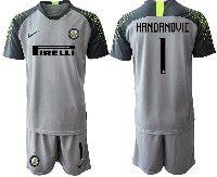 Mens 19-20 Soccer Inter Milan Club #1 Handanovic Gray Goalkeeper Short Sleeve Suit Jersey