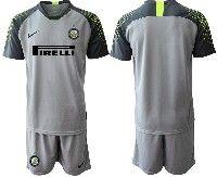 Mens 19-20 Soccer Inter Milan Club( Blank ) Gray Goalkeeper Short Sleeve Suit Jersey