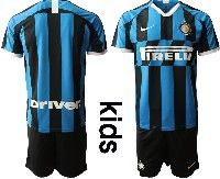 Youth 19-20 Soccer Inter Milan Club ( Custom Made ) Blue And Black Stripe Home Short Sleeve Suit Jersey