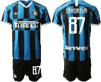 Mens 19-20 Soccer Inter Milan Club #87 Candreva Blue And Black Stripe Home Short Sleeve Suit Jersey