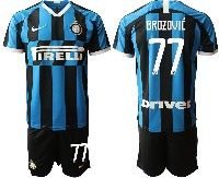 Mens 19-20 Soccer Inter Milan Club #77 Brozovic Blue And Black Stripe Home Short Sleeve Suit Jersey