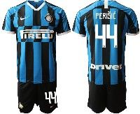 Mens 19-20 Soccer Inter Milan Club #44 Perisic Blue And Black Stripe Home Short Sleeve Suit Jersey