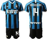 Mens 19-20 Soccer Inter Milan Club #14 Nainggolan Blue And Black Stripe Home Short Sleeve Suit Jersey