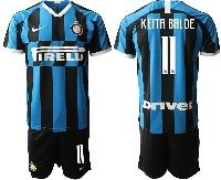 Mens 19-20 Soccer Inter Milan Club #11 Keita Balde Blue And Black Stripe Home Short Sleeve Suit Jersey