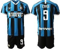 Mens 19-20 Soccer Inter Milan Club #9 Icardi Blue And Black Stripe Home Short Sleeve Suit Jersey