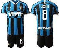 Mens 19-20 Soccer Inter Milan Club #8 Vecino Blue And Black Stripe Home Short Sleeve Suit Jersey