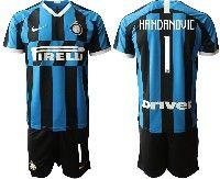 Mens 19-20 Soccer Inter Milan Club #1 Handanovic Blue And Black Stripe Home Short Sleeve Suit Jersey