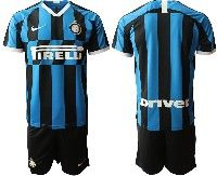 Mens 19-20 Soccer Inter Milan Club ( Blank ) Blue And Black Stripe Home Short Sleeve Suit Jersey