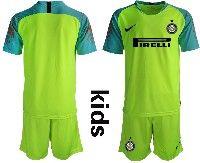 Youth 19-20 Soccer Inter Milan Club( Blank )green Goalkeeper Short Sleeve Suit Jersey