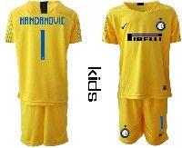 Youth 19-20 Soccer Inter Milan Club #1 Handanovic Yellow Goalkeeper Short Sleeve Suit Jersey