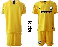 Youth 19-20 Soccer Inter Milan Club( Blank )yellow Goalkeeper Short Sleeve Suit Jersey