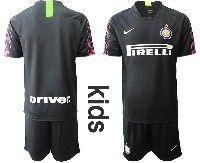 Youth 19-20 Soccer Inter Milan Club( Blank )black Goalkeeper Short Sleeve Suit Jersey