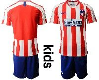 Youth 19-20 Soccer Atletico De Madrid Club ( Custom Made ) Red And White Stripe Home Short Sleeve Suit Jersey