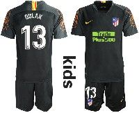 Youth 19-20 Soccer Atletico De Madrid Club #13 Oblak Black Goalkeeper Short Sleeve Suit Jersey