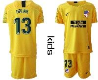 Youth 19-20 Soccer Atletico De Madrid Club #13 Oblak Yellow Goalkeeper Short Sleeve Suit Jersey