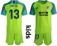 Youth 19-20 Soccer Atletico De Madrid Club #13 Oblak Green Goalkeeper Short Sleeve Suit Jersey
