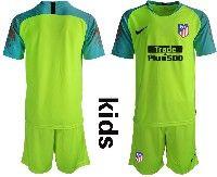 Youth 19-20 Soccer Atletico De Madrid Club ( Custom Made ) Green Goalkeeper Short Sleeve Suit Jersey