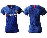 Women 19-20 Soccer Chelsea Club ( Blank ) Blue Home Short Sleeve Jersey