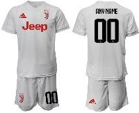 Mens 19-20 Soccer Juventus Club ( Custom Made ) White Away Short Sleeve Suit Jersey