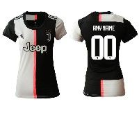 Women 19-20 Soccer Juventus Club ( Custom Made ) White And Black Home Short Sleeve Jersey