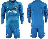 Mens 19-20 Soccer Atlanta United Club Custom Made Blue Stripe Long Sleeve Suit Jersey