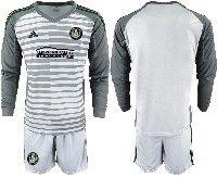 Mens 19-20 Soccer Atlanta United Club Custom Made White Stripe Long Sleeve Suit Jersey