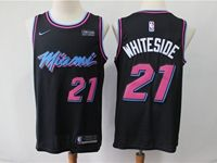 Mens 2019 Nba Miami Heat #21 Hassan Whiteside Black City Edition Nike Swingman Jersey