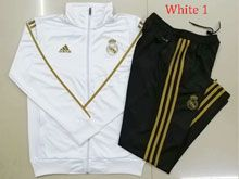 Mens 19-20 Soccer Real Madrid Club White Jacket And Black Sweat Pants Training Suit ( Long Zipper )