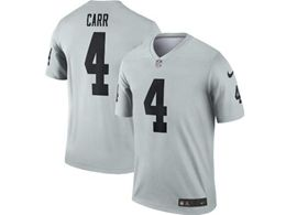 Mens Nfl Oakland Raiders #4 Derek Carr Silver Nike Inverted Legend Jersey