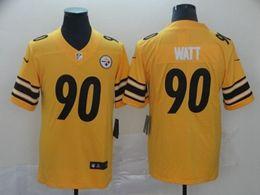 Mens Nfl Pittsburgh Steelers #90 T. J. Watt Gold Nike Inverted Legend Vapor Untouchable Limited Jersey
