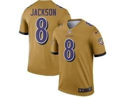 Mens Nfl Baltimore Ravens #8 Lamar Jackson Gold Nike Inverted Legend Jersey