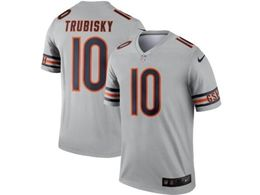 Mens Nfl Chicago Bears #10 Mitchell Trubisky Silver Nike Inverted Legend Jersey