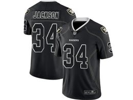 Mens Nfl Oakland Raiders #34 Bo Jackson Lights Out Black Vapor Untouchable Limited Jersey